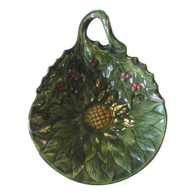 Vintage Decorative Holy Candy Green Dish For Sale