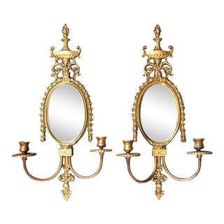 Neoclassical French Style Glo-Mar Artworks Brass Wall Mirror Sconces - a Pair For Sale