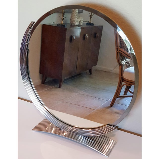 1980s Chrome Art Deco Style Table Mirror For Sale - Image 5 of 5