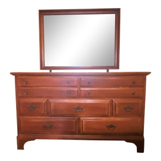 """Cushman Colonial """"Marcy Robinson"""" Solid Maple 8 Drawers Double Dresser With Mirror Circa 1957 For Sale"""
