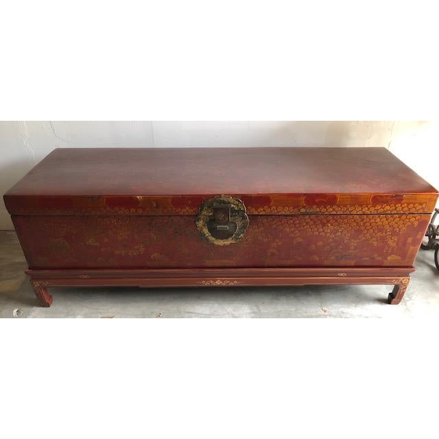 Red Antique Chinese Red and Gilt Lacquered Martial Arts Storage Trunk on New Stand For Sale - Image 8 of 8