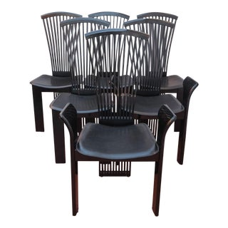 1970s Pietro Costanini Black Lacquered and Leather Dining Chairs - Set of 6 For Sale