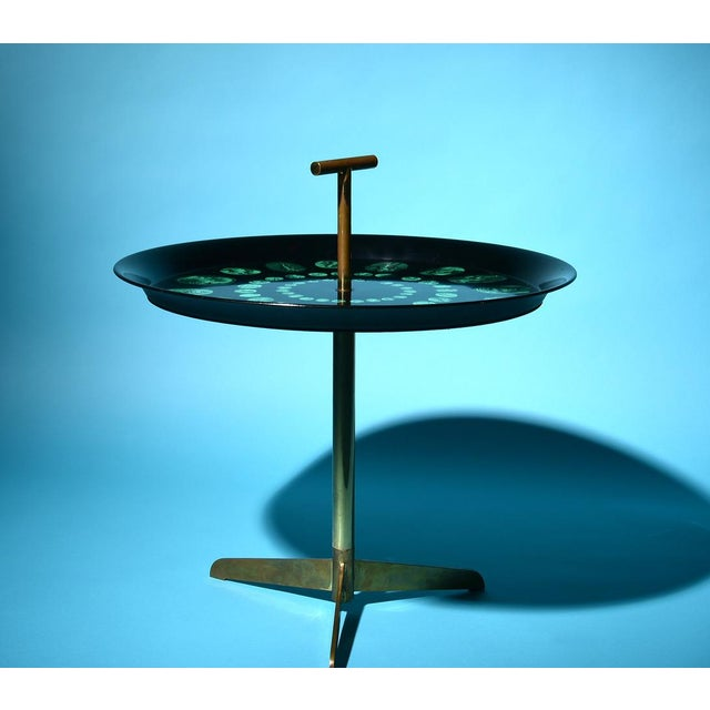 Italian Piero Fornasetti Rare Tripod and Brass Serving Table, 1950s For Sale - Image 3 of 10