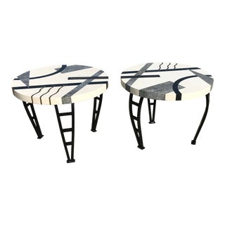 Memphis Marble and Brass Inlay End Tables - a Pair For Sale