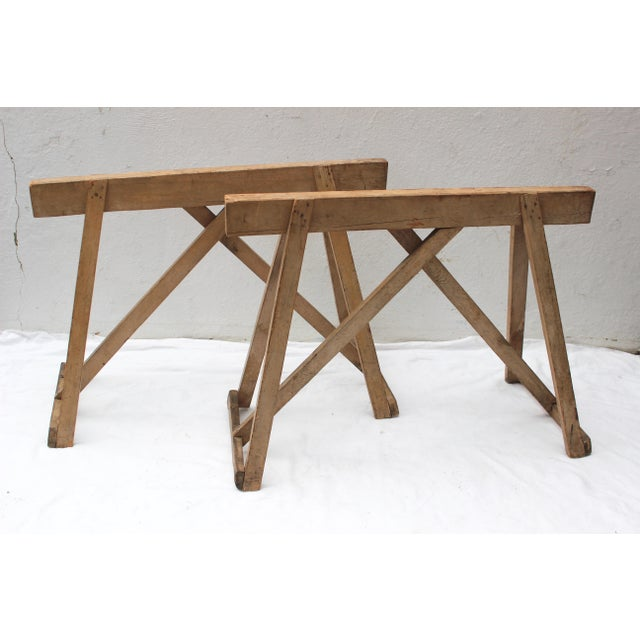 Brown 19th Century French Country Wood Saw Horse Table Bases - a Pair For Sale - Image 8 of 13