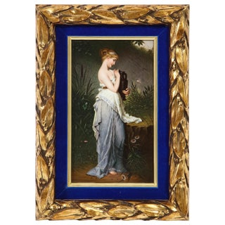 "Fine Quality Berlin k.p.m Hand Painted Porcelain Plaque ""Psyche With Vase"" For Sale"