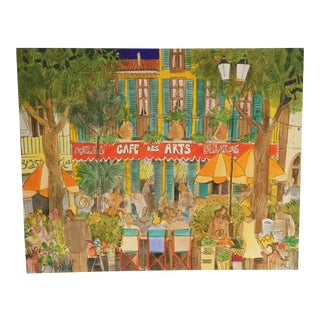 Modern Cafe Des Arts Acrylic on Canvas Painting - Unframed For Sale