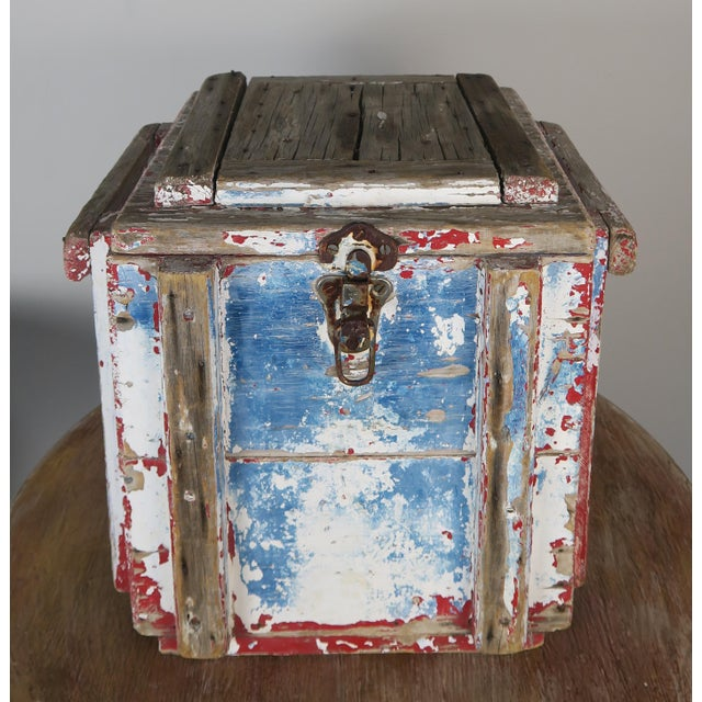 Metal Painted Wood Work Box W/ Metal Clasp and Handles For Sale - Image 7 of 13
