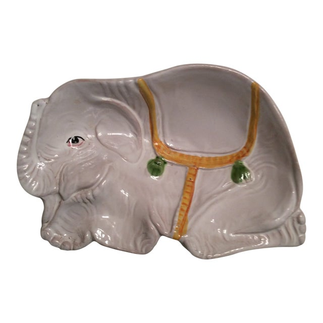Image of Italian Hand Painted Pottery Elephant Bowl