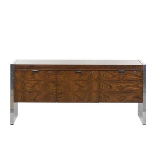 Roger Sprunger for Dunbar Rosewood and Chrome Credenza, c. 1970 For Sale
