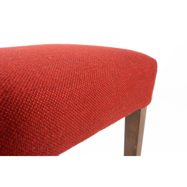 Danish Modern Crimson Wool Ottoman - Image 6 of 6