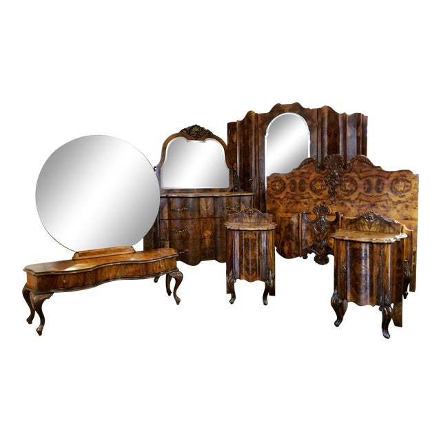 Antique Italian Olive Wood Neo-Rococo Venetian Baroque Six Piece Bedroom Suite For Sale
