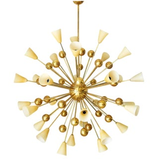 Frosted Amber Glass Shades and Brass Sputnik For Sale