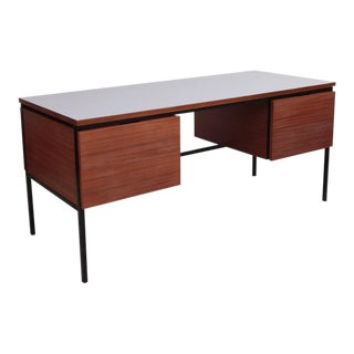 Mahogany Desk with grey formica by Pierre Guariche for Minivelle, France, 1960s For Sale