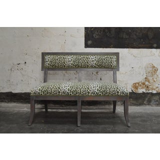 Gray Dining Banquette in Green Leopard Preview