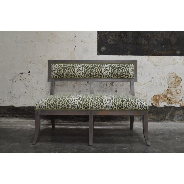 Beautifully made banquette or bench in distressed gray finish with green leopard grospoint fabric. In excellent condition....