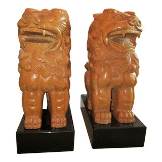 Vintage Carved Wood Foo Dogs-A Pair For Sale