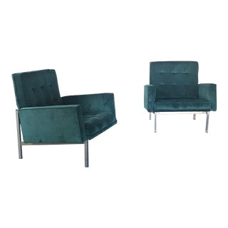 Florence Knoll Parallel Bar Velvet Lounge Chairs - A Pair
