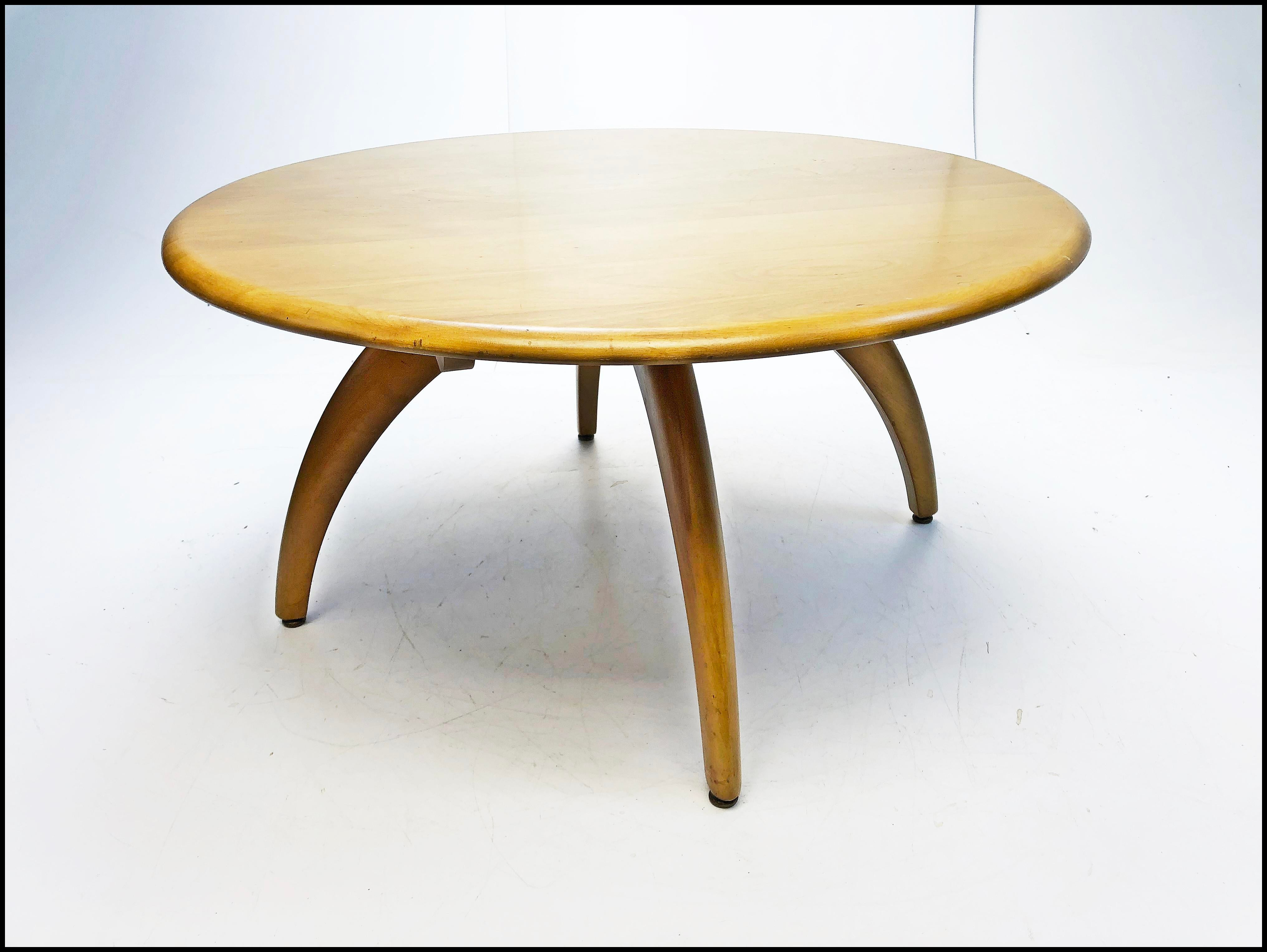 Mid Century Modern Heywood Wakefield Lazy Susan Coffee Table   Image 13 Of  13