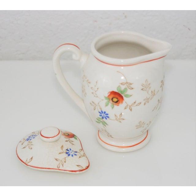 Mid 20th Century Vintage Mid-Century Japan Ceramic Floral Design Lidded Syrup Pitcher For Sale - Image 5 of 9