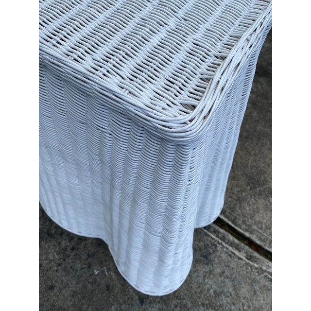 Metal Trompe-l'Oeil Natural Rattan Console Table For Sale - Image 7 of 12