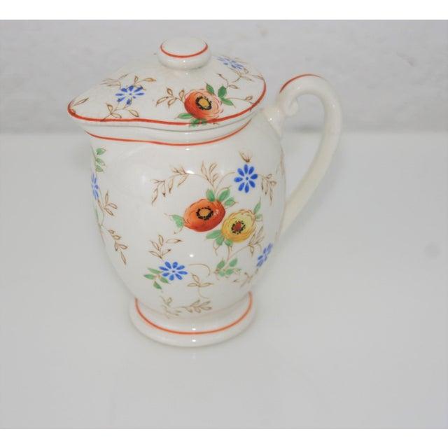Vintage Mid-Century Japan Ceramic Floral Design Lidded Syrup Pitcher For Sale - Image 9 of 9