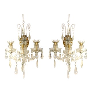 Crystal & Bronze 1940's Three Arm Wall Electrified Wall Sconces For Sale