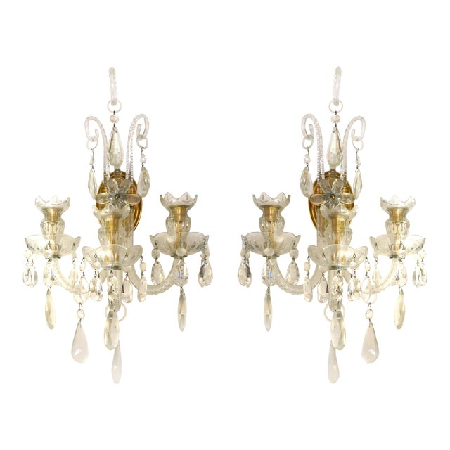 Crystal & Bronze 1940's Three Arm Wall Electrified Wall Sconces - a Pair For Sale