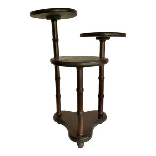 Antique Faux Bamboo Wood 3-Tier Plant Stand For Sale