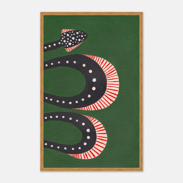 Contemporary Zucchini the Snake by Willa Heart in Gold Framed Paper, Medium Art Print For Sale - Image 3 of 5