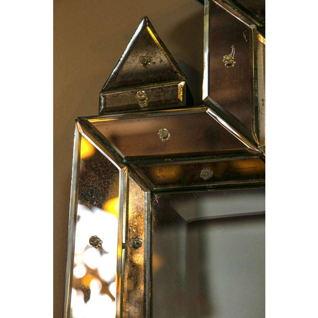 Hollywood Regency 1990s Piedmont Hollywood Regency Style Distressed Antiqued Venetian Mirrors - a Pair For Sale - Image 3 of 7