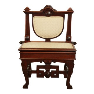 Antique 19th Century Aesthetic Victorian Walnut Music Chair with Storage For Sale