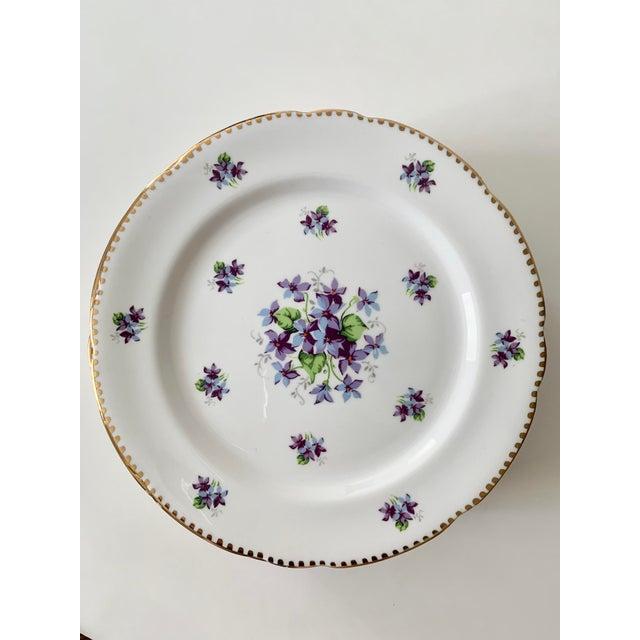 English Royal Stafford Sweet Violets Gold Edge Salad Plates - Set of 10 For Sale - Image 3 of 11