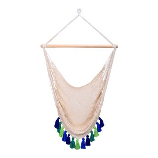 Deluxe Natural Cotton Hammock Swing with Rainforest Inspired Tassels For Sale