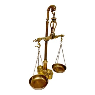 "Mid-Century English Brass ""Scales of Justice"" Scale With Weights For Sale"