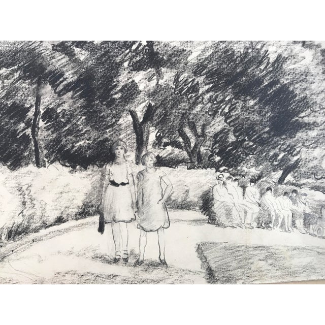1930s Antique English Pencil Drawing For Sale - Image 4 of 5