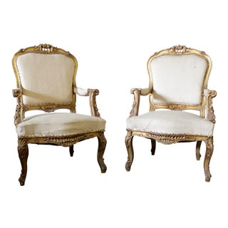 1940s French Gold Leaf Arm Chairs - a Pair For Sale