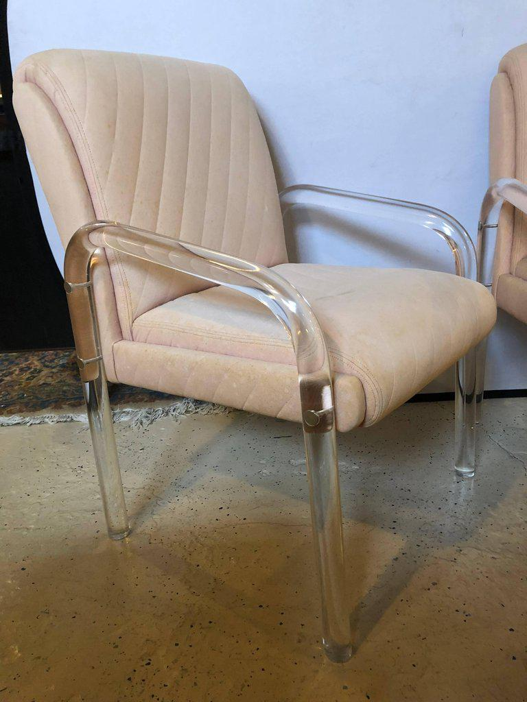 Charmant Set Of Four Milo Baughman Style Mid Century Modern Lucite Overstuffed  Armchairs With U Shape Thick