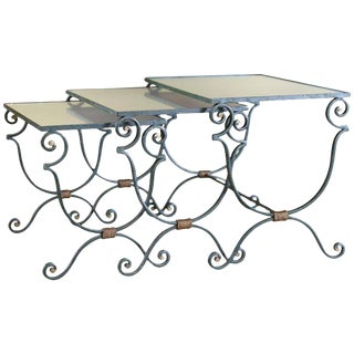 Set Three French Mirrored-Top Iron Nesting Tables For Sale