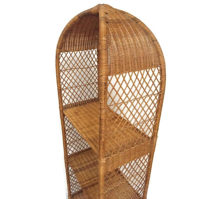 Vintage Rattan Domed Etagere, Danny Ho Fong Style Rattan Shelving Unit with four shelves. From the Boho Lounge to the...