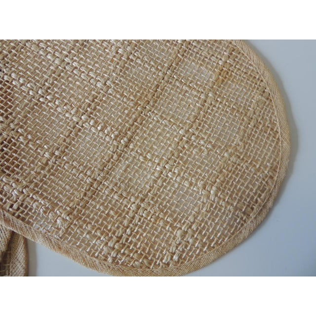 Boho Chic Vintage Set of (4) Woven Hemp and Raffia Oval Placemats For Sale - Image 3 of 6