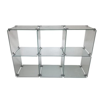 Industrial Glass and Chrome Shelf Unit For Sale