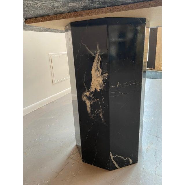 Postmodern Black Pedestal Marble Dining Table For Sale - Image 4 of 6