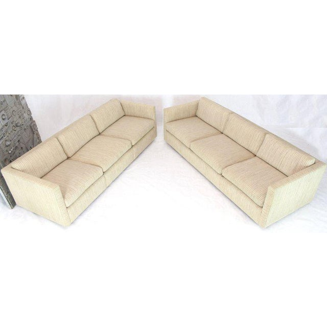 1970s Vintage Cream Wool Upholstery Box Shape Knoll Sofas Baughman Probber- a Pair For Sale - Image 12 of 13