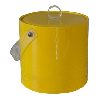 Retro Vinyl Yellow Ice Bucket For Sale