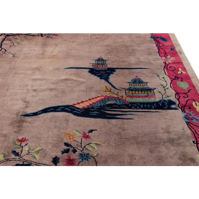 Textile Vintage Purple Chinese Art Deco Wool Rug 9 Ft X 11 Ft 6 In. For Sale - Image 7 of 13