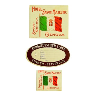 Vintage Hotel Savoy Genova Italy Luggage Tags - Set of 3 For Sale