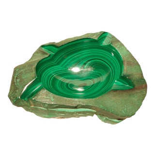 1970s Large Malachite & Chrysocolla Free-Form Cigar Ashtray Vide-Poche, Democratic Republic of the Congo For Sale