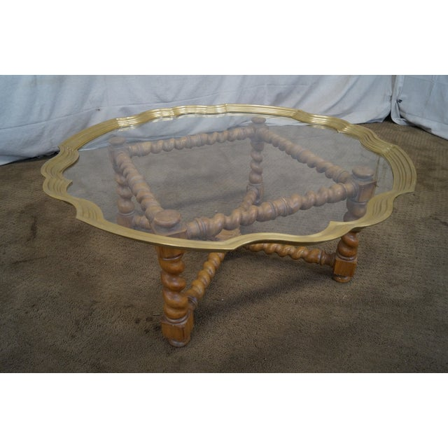 Quality Brass & Glass Tray Top Coffee Table - Image 3 of 9