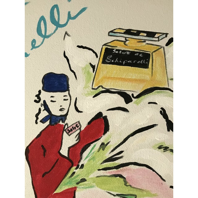 "Art Deco Contemporary ""Salut de Schiaparelli Fragrance"" Acrylic Painting After a 1940s Advertisement For Sale - Image 3 of 5"
